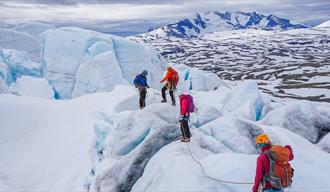 Group on a glacier hike on Bøverbreen